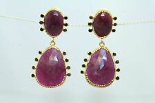 Handmade 14 Kt Yellow Gold Earrings with Heat Treated Ruby and Black diamonds