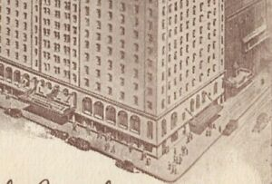 New York City Lincoln Hotel  Advertising Postcard Aerial Street View Cars People