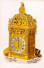 """Shaw's """"Dresses & Decorations"""" - """"CLOCK PRESENTED by HENRY 8"""" - Hand-Col'd-1843"""