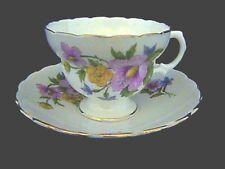 VINTAGE ENGLAND BONE CHINA, CUP & SAUCER SET Pink, Yellow & Blue Flower Pattern