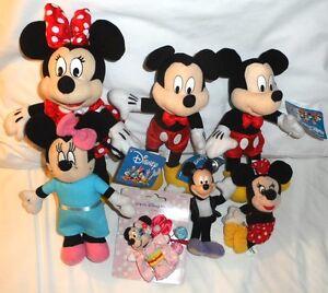 Large Lot Disney Mickey & Minnie Plush Dolls, Bean Bag, Coin Purse, Clip, Hair