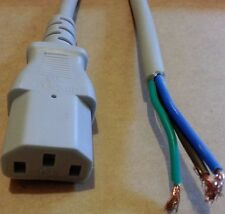 2M, IEC C13 SOCKET TO BARE/OPEN ENDS GREY CABLE,PC TFT LCD PLASMA TV KETTLE LEAD