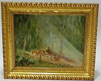 VINTAGE SMALL MINIATURE OIL ON BOARD PAINTING M MIDDLETON ARTIST SIGNED