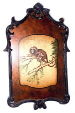 Wooden Hand-Painted Monkey Hanging Wall Art Picture - Ornately Carved Frame