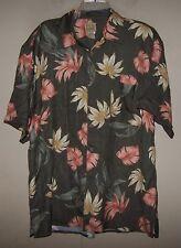 Men's Large 7104 JOS. A. BANK Olive Green HAWAIIAN Floral Button Shirt 100% SILK