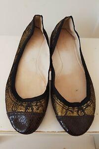 WITCHERY Sz 39 8.5 Black Gold Woven Ballet Flats Shoes