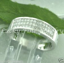 1.25 ct 18k White Gold ladie's Natural Princess Cut Diamond Ring  invisible set