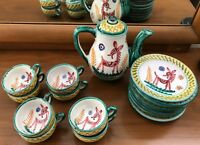 Vintage Tito Corti 60s Tea Set Pot Cups Saucers Horse Mid Century Modern Italy