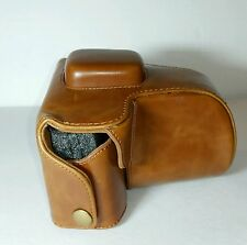 """Leather Camera Case With Strap Stitched together """"Brass"""" Snaps Retro"""