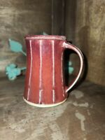 Rustic Red Brown Glaze Concave Signed Studio Art Pottery Coffee Cup Mug 8 oz.