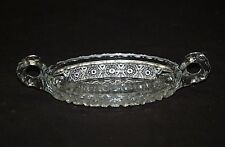 Old Vintage Clear Glass Open Candy Relish Dish Sawtooth Edge Finger Loop Handles