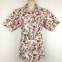 Ariat Western Shirt Womens M Short Sleeve Red Green White Floral Pearl Snap