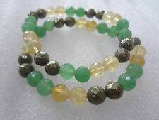 Faceted Pyrite Green Aventurin and Citrin Bracelet  ♥For Prosperity♥Good Luck♥