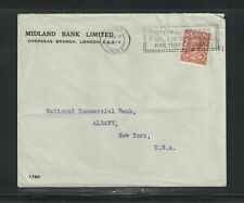 1928 GREAT BRITAIN MIDLAND BANK ADVERTISING COVER + SLOGAN CANCEL Scott # 189