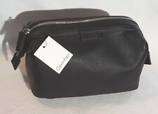 Calvin Klein Mens Faux Leather Toiletry Travel Bag Shave Dobb Kit Black MSRP $65