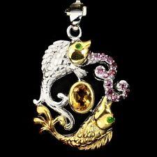 Großer Anhänger Fische Citrin Rhodolit Chromdiopsid 925 Silber 585 vergoldet
