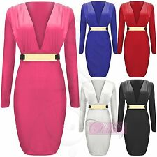 Unbranded Plus Size Long Sleeve V Neck Dresses for Women