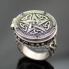 Vintage Silver Tribal Celtic Trinity Knot Star Carved Locket Band Finger Ring