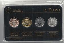 San Marino 2 Euro Edelmetallset, Gelb-/Rotgold,Platin,Ruthenium, Neu,OVP,SELTEN