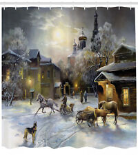 Shower Curtain Country Winter Landscape of a Western Town 84 Inches Extra Long
