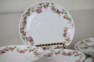 "Limoges Saucers Demitasse Set of 11 Pink Rose Swags Beaded Rim 4.75"" France GDA"