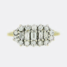 Vintage Baguette and Brilliant Cut Diamond Cluster Ring 18ct Yellow Gold