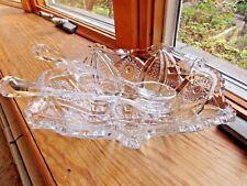 VINTAGE CRYSTAL GLASS SALAD FRUIT BOWL 2 SERVERS 3 PIECE SET ELEGANT QUALITY