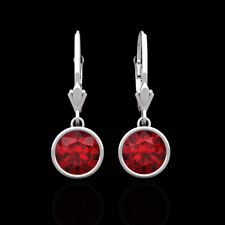 14k Solid White Gold Round Cut 2.00 Ct Red Ruby Stud Earrings