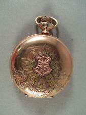 ANTIQUE WALTHAM TRI-COLOR 14K GF POCKET WATCH - CIRCA 1894 **NEEDS SERVICE**