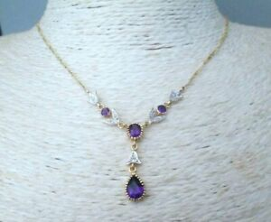 9ct Yellow Gold 1.05ct Natural Amethyst & Diamond Negligee Pendant Necklace