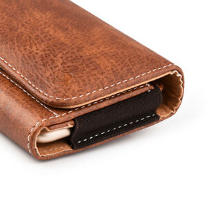 For OnePlus 7T Pro -Brown Leather Belt Clip Horizontal Pouch Holster Case Holder