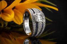 Schmuck Fabelhafter Diamant Ring Emerald Cut mit Brillanten & Saphir in Weißgold