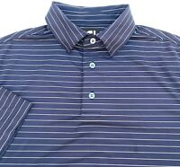 Footjoy FJ Mens Size M Navy White Striped Short Sleeve Polo Shirt
