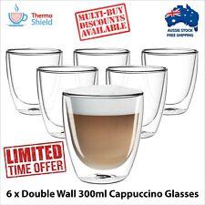 6 x Cappuccino Glasses Glass Double Wall Dual Coffee Thermo Shield Cup Mug Heat