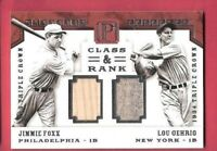 LOU GEHRIG JIMMIE FOXX GAME USED JERSEY & BAT CARD #d4/10 1 OF 1 2016 PANTHEON