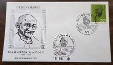 1969 GERMANY FDC GANDHI  FACING FORWARD EMBOSSED CACHET