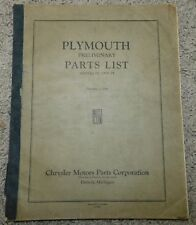 1934 PLYMOUTH Preliminary Parts List Model PE and PF CHRYSLER MOTOR