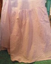 Rachel Ashwell Shabby Chic BEDSKIRT Bed Skirt Pink Embroidered Openwork Queen Sz