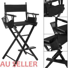 New Professional Foldable Makeup Artist Tall Director Chair Wood Black HH