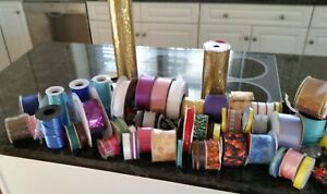 Large Lot of 75 roll of ribbon NEW and used multiple colors and sizes!