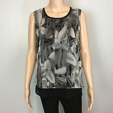 NWT Women's T Tahari Black White Floral Print Sleeveless Blouse SZ S $78