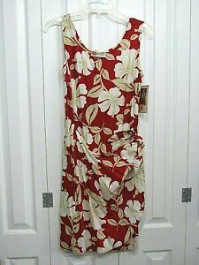 NWT HILO HATTIE RED FLORAL HAWAIIAN SLEEVELESS DRESS FAUX WRAP SZ SMALL S