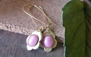Pink moonstone earrings Gold Dangle Stone Bohemian Gypsy Filigree Moroccan brass