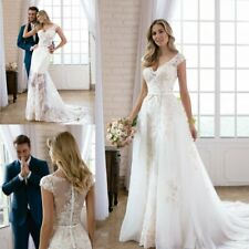 Wedding Dresses Detachable Train Bridal Gowns Removable Skirt V Neck Cap Sleeves
