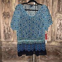 NWT Rafaella Women's Size Large Top With Cami Semi Sheer Multicolor Blouse