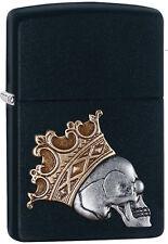 "Zippo 3D Emblem Lighter ""King Skull"" No 29100 - New on black matte finish"