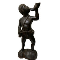 "Vintage African Wooden Hand Carved Tribal Man Blowing Shell Horn Figure 15"" Tall"