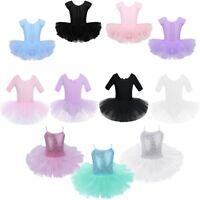 Kids Girls Cutout Back Ballet Dance Tutu Dress Leotard Skirt Ballerina Dancewear