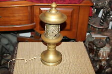 Antique Art Deco Pagoda Asian Style Oil Lamp Converted #2 Brass Metal