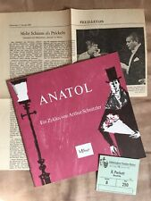 """Program booklet """"Anatol"""" with Peter Weck 1967 Stage 64-incl. Ticket Theater Mainz"""